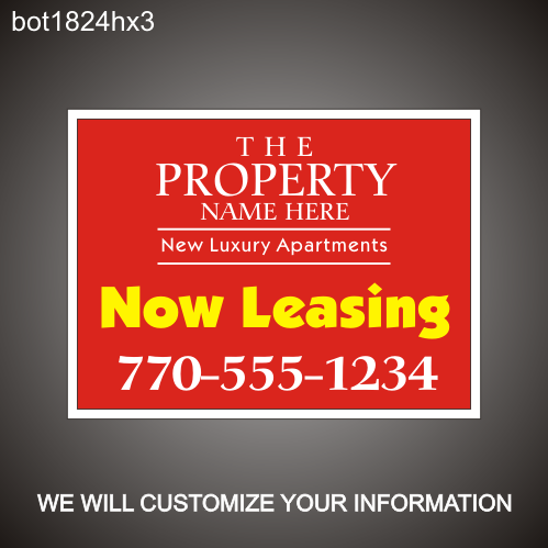Now Leasing 18in x 24in