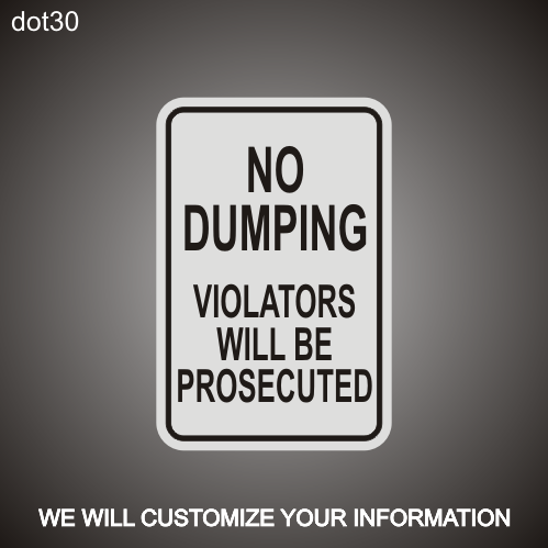 No Dumping RA 12in x 18in
