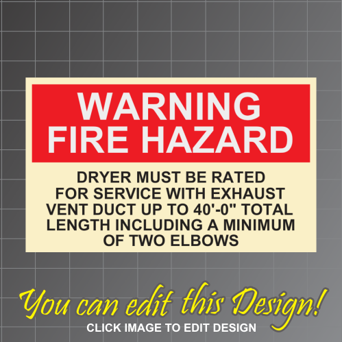 Dryer Warning 3in x 5in