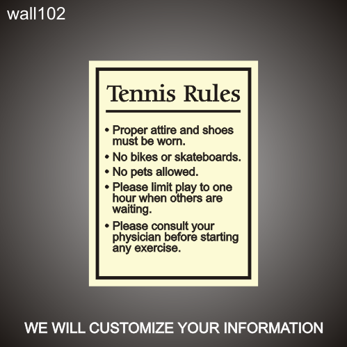 Tennis Rules 18in x 24in