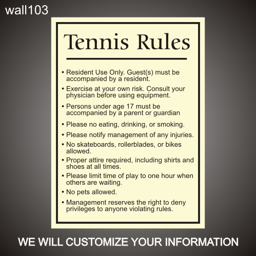 Tennis Rules 24in x 36in