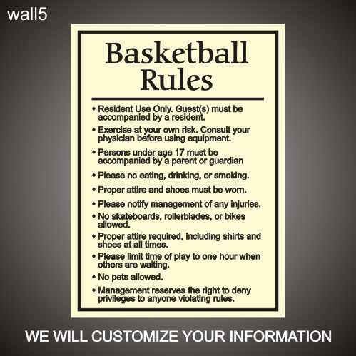 Basketball Rules 24in x 36in
