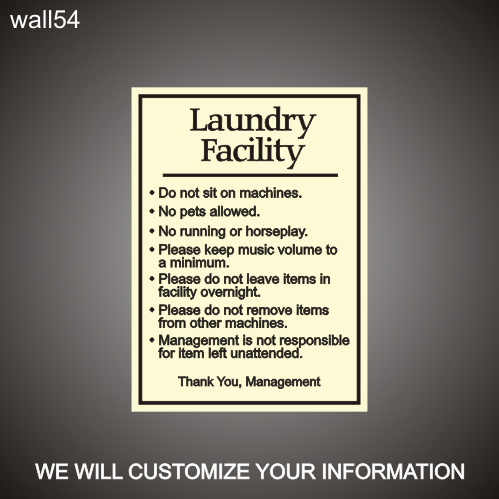 Laundry Rules 18in X 24in