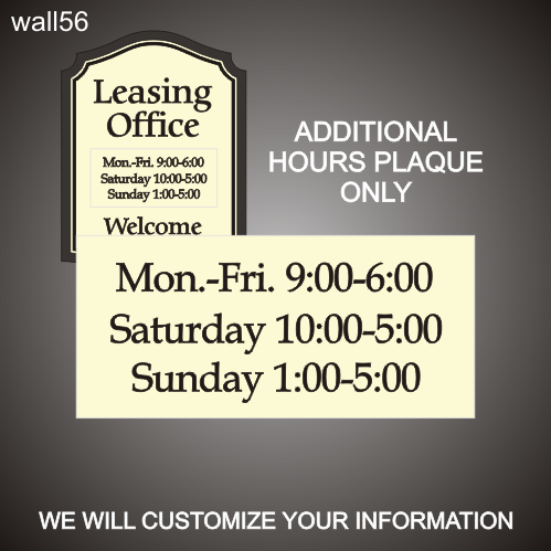 Leasing Hours Plaque Only