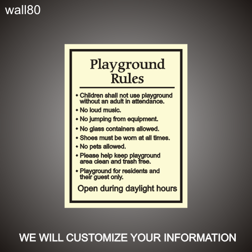 Playgroung Rules 18in x 24in