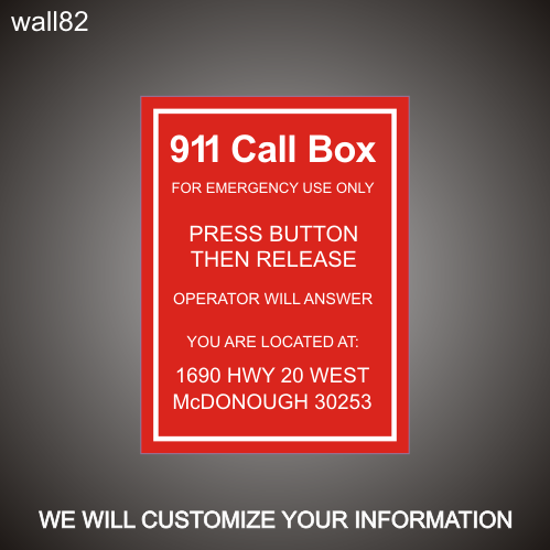 Pool 911 Call Box 12in x 18in