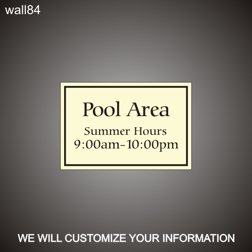 Pool Hours 12in x 18in