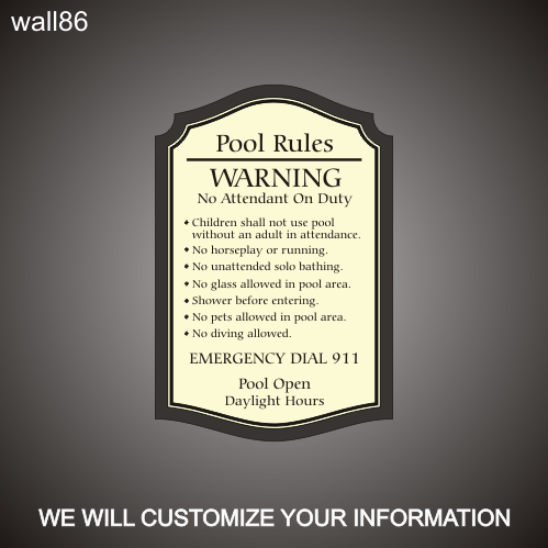 Pool Rules 18in x 24in