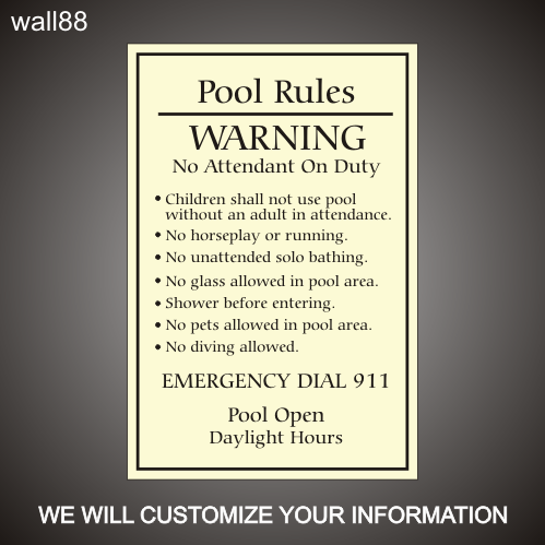 Pool Rules 24in x 36in